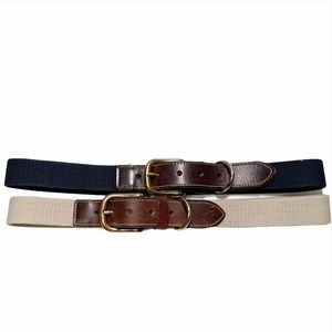 Men's Tan Navy Canvas and Brown Leather Belts Lot